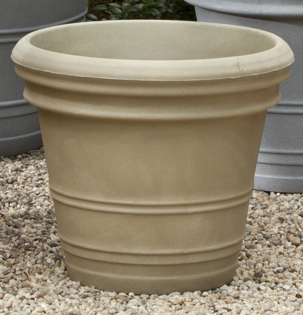 Double Rolled Rim Planter  - Weathered Stone