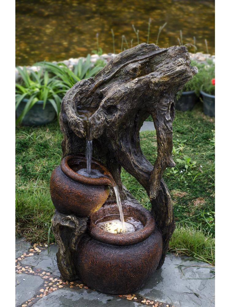 Tree Trunk and Urns Water Fountain with Led Light