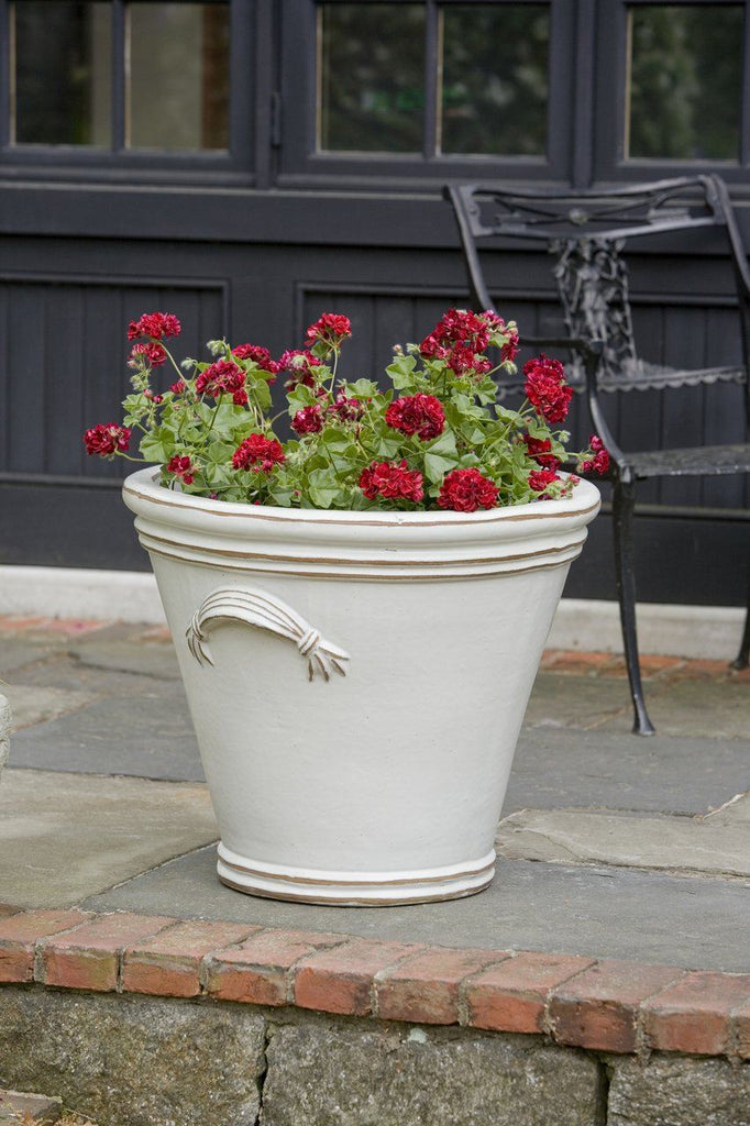 Fluted Handle Planter  - Antique White