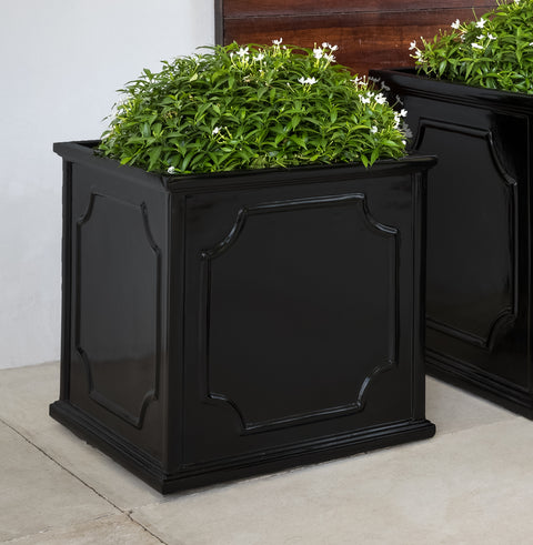 Medium Cumberland Square Planter-Glossy Black