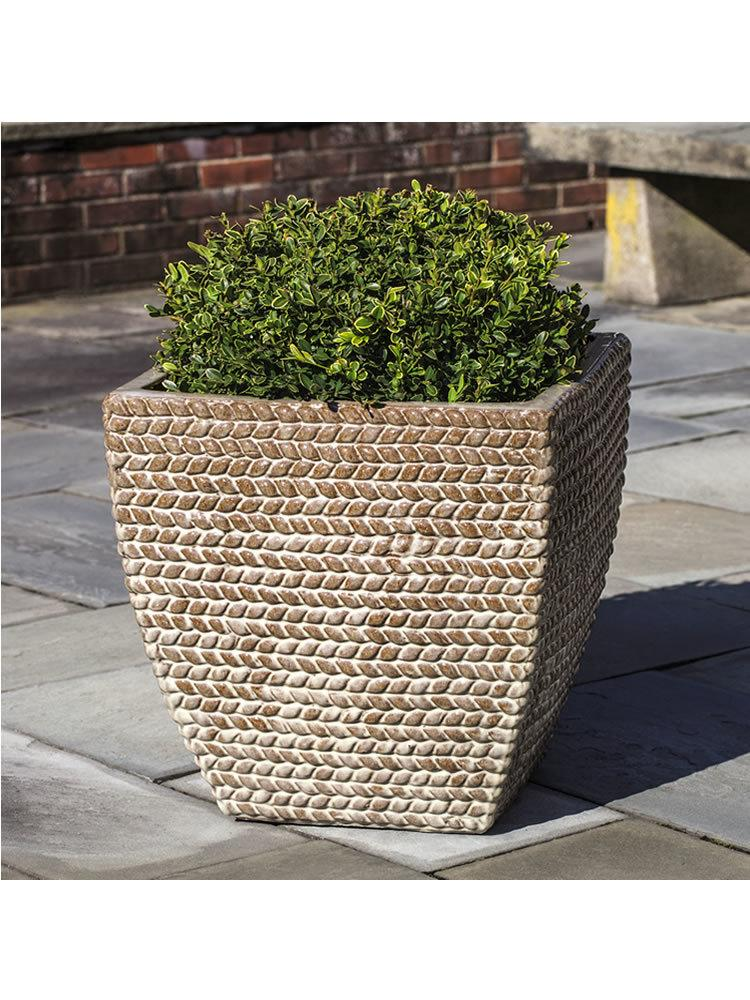 Square Sisal Weave Planter Set of Three in Cafe Au Lait