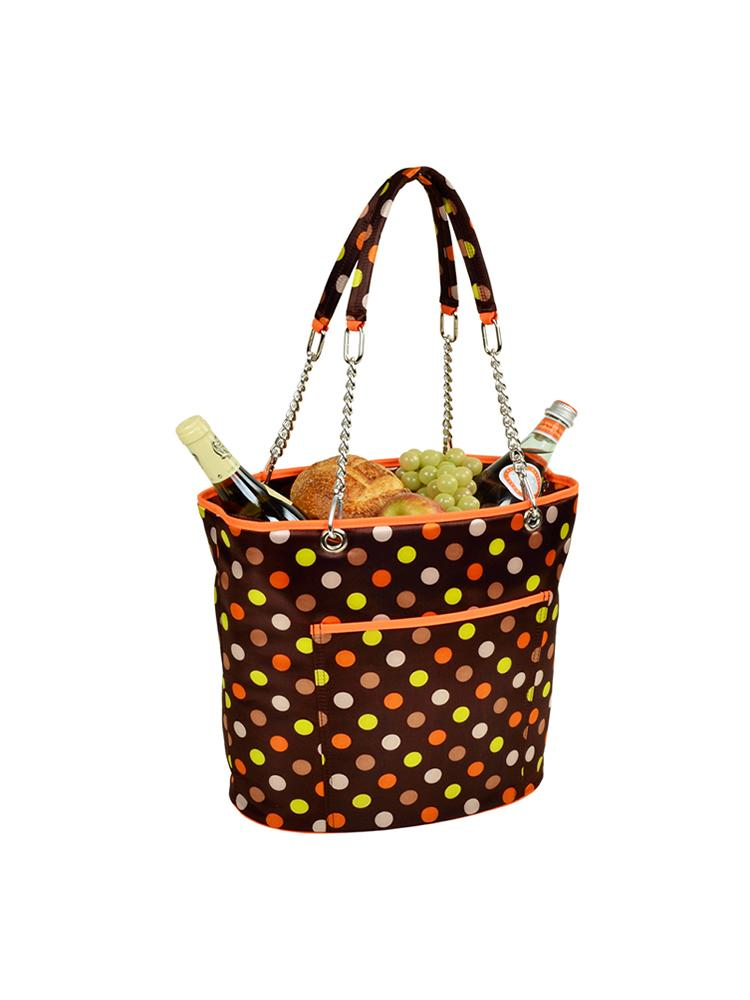 Insulated Cooler Tote w/chain handle -Julia Dot