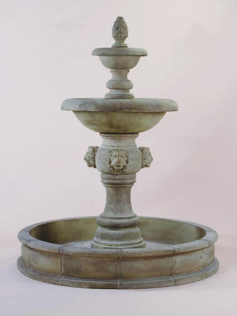 Quattro Lion Two Tier Pond Fountain