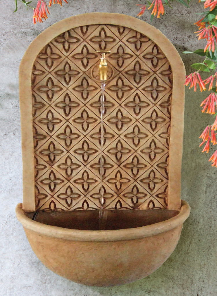 Small Tapestry Wall Fountain-Parchment Brown