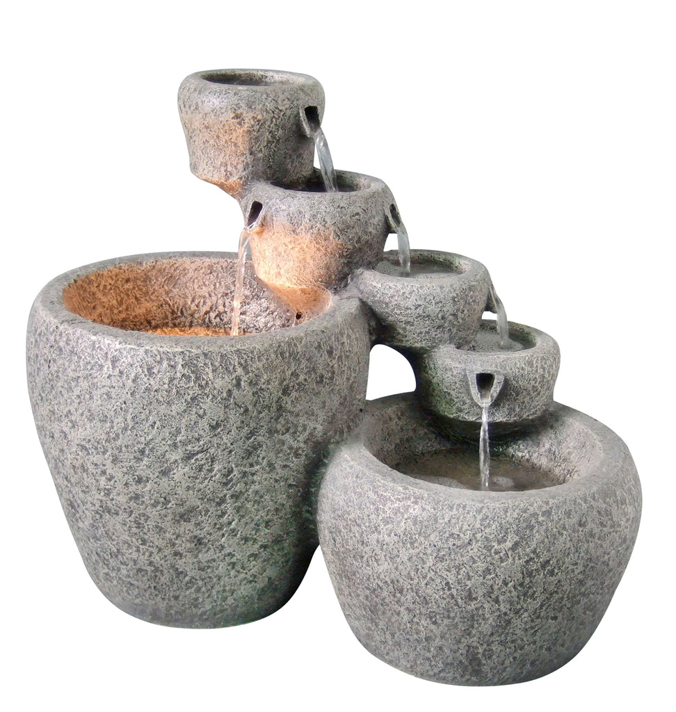 Cascading Bowls Fountain - Weathered Stone