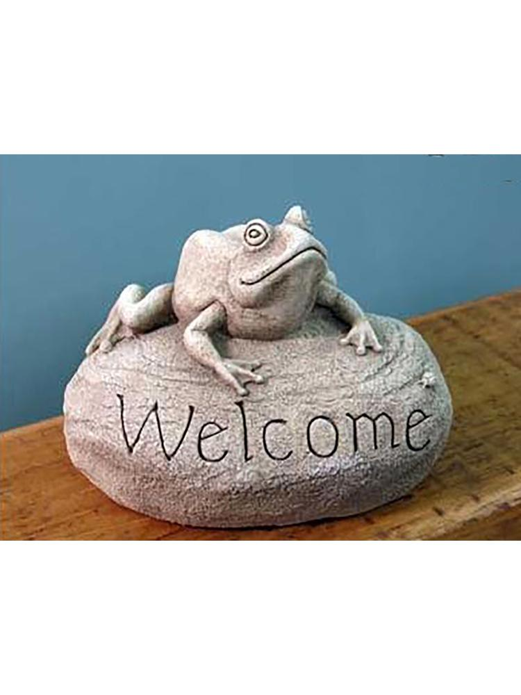 Frog Welcome Rock Garden Statue