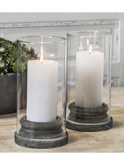 "Classic Pillar Candleholder Set of Four with Hurricanes (3"" Candle)"