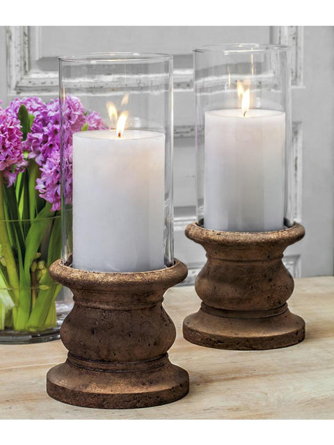 "Classic Tall Pillar Candleholder Set of Two with Hurricanes (4"" Candle)"