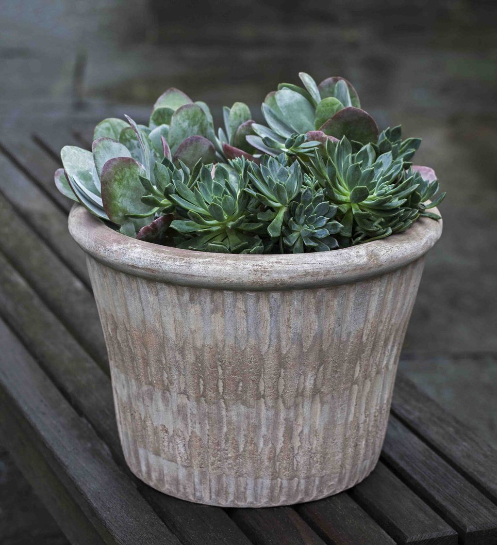 Stria Planter - Set of 3 in Antico Terra Cotta