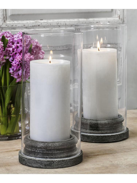 "Classic Pillar Candleholder Set of Four with Hurricanes (4"" Candle)"
