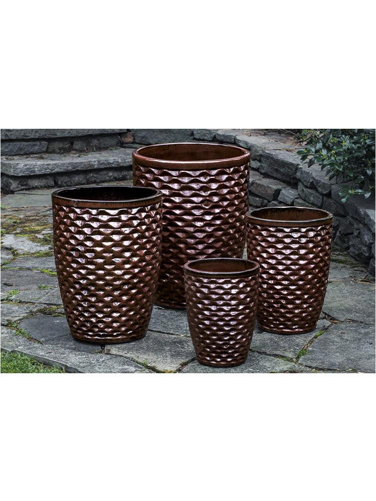 Tall Honeycomb Planter Set of Four in Maple Red