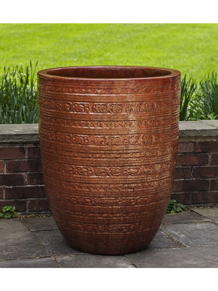 Sari Striped Planter - Set of 3 in Volcanic Red