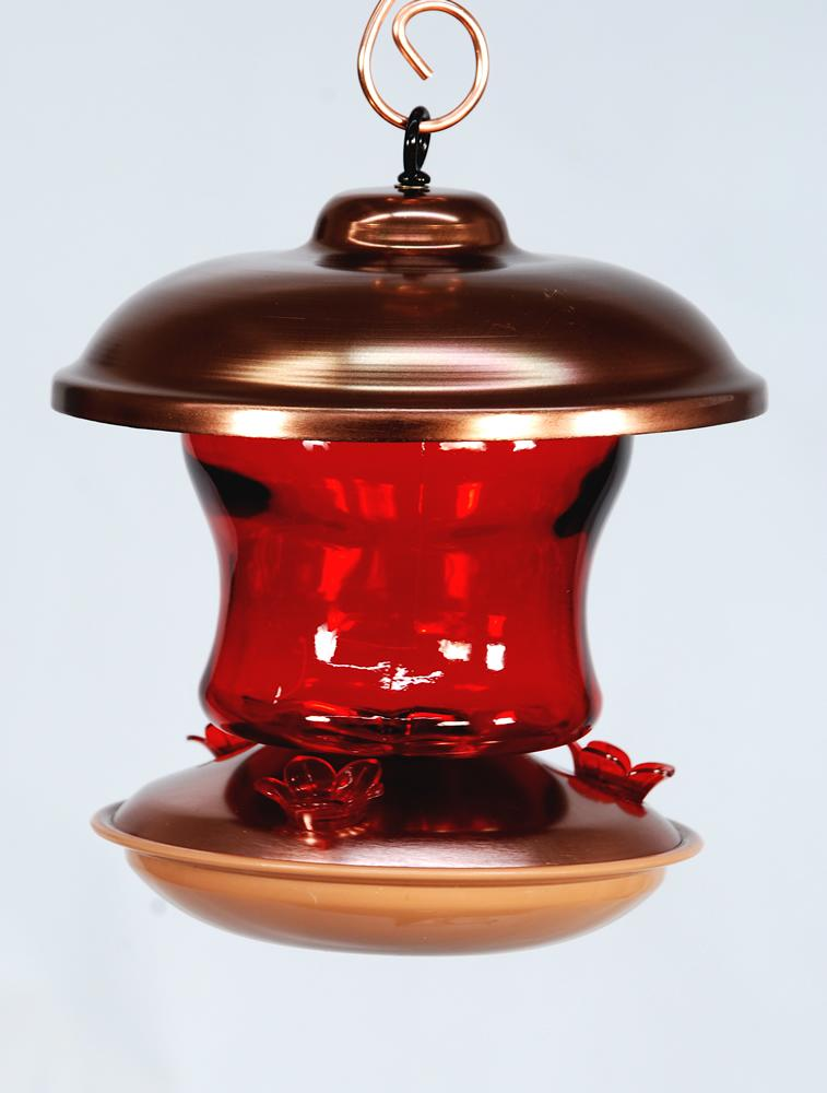 Brushed Copper Ruby Glass Hummingbird Feeder