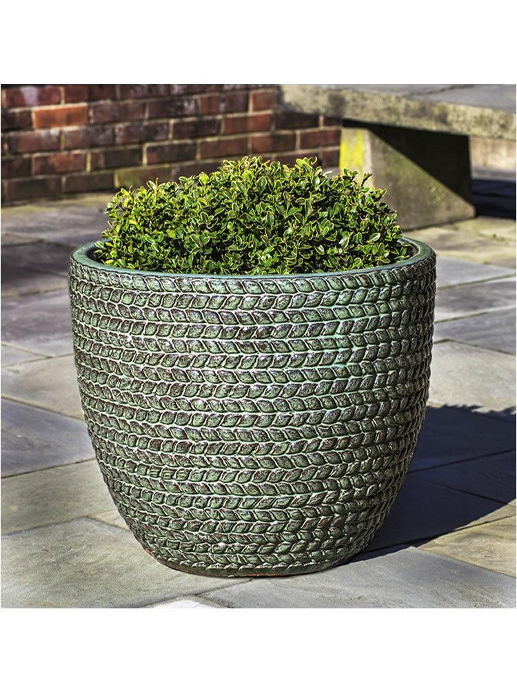 Sisal Weave Planter Set of Three in Seafoam Green