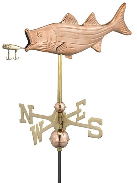 Copper Fishing Garden Weather Vane