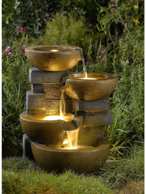 Dualing Bowls Water Fountain with Lights