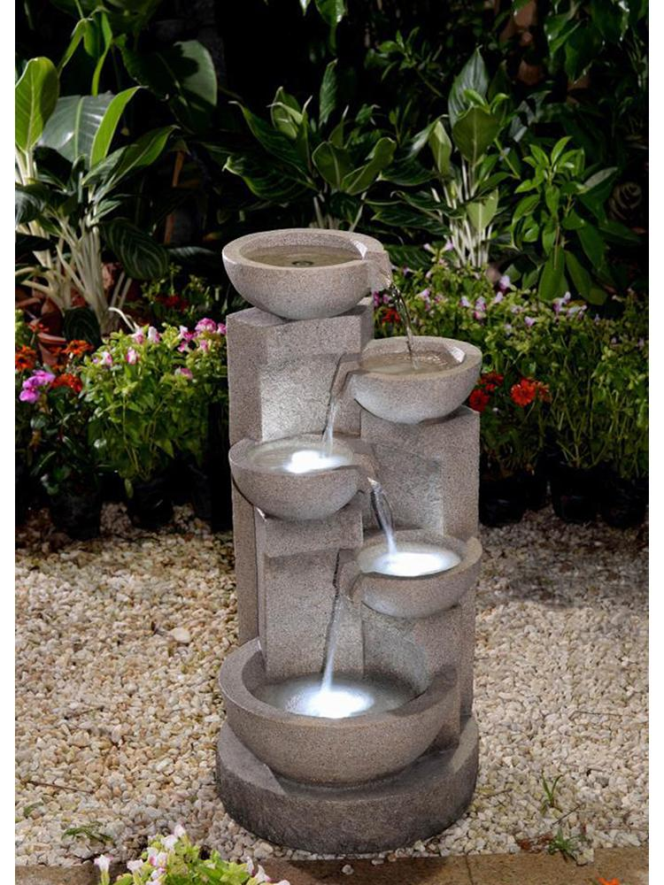Pouring Bowls Fountain in Faded Stone