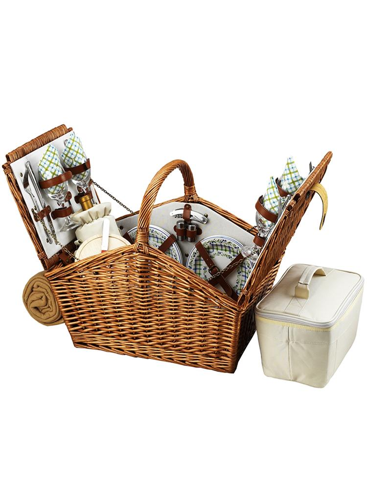Huntsman Basket for four with Blanket in Gazebo