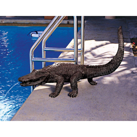 Gator on the Prowl: Spitting Bronze Alligator Garden Statue