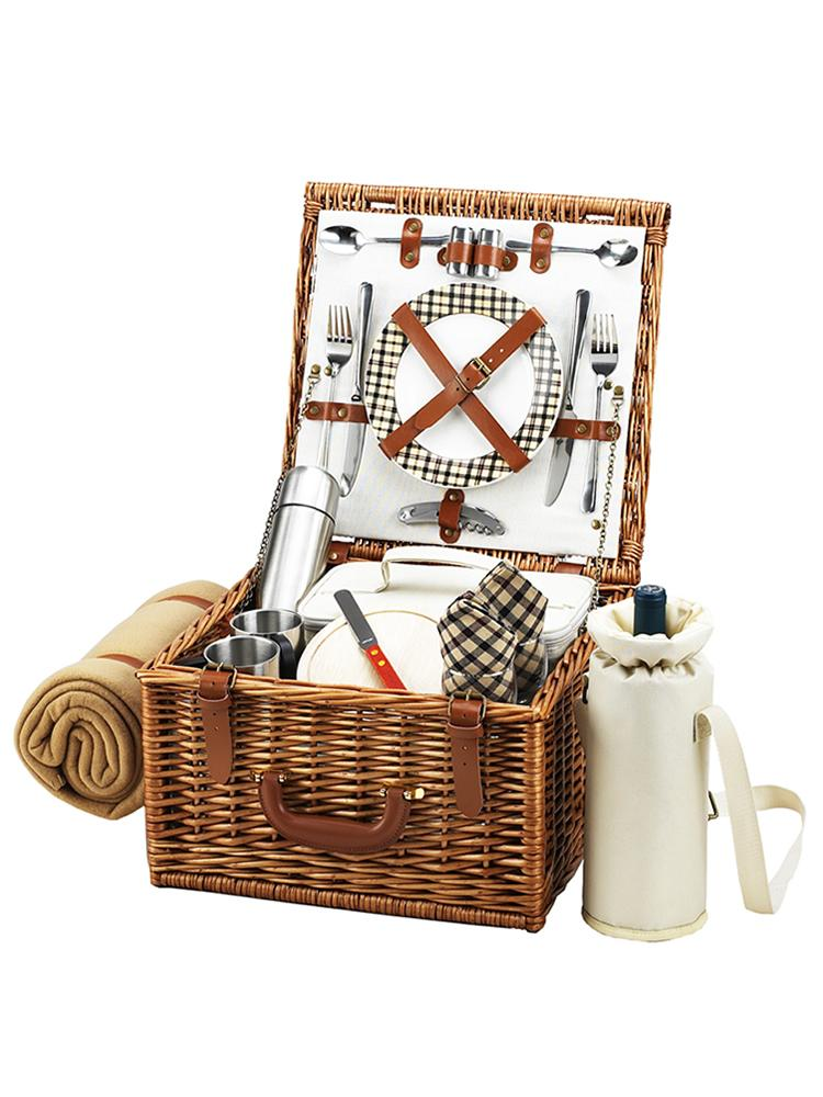 Cheshire Basket for Two with Coffee Set & Blanket in London Plaid