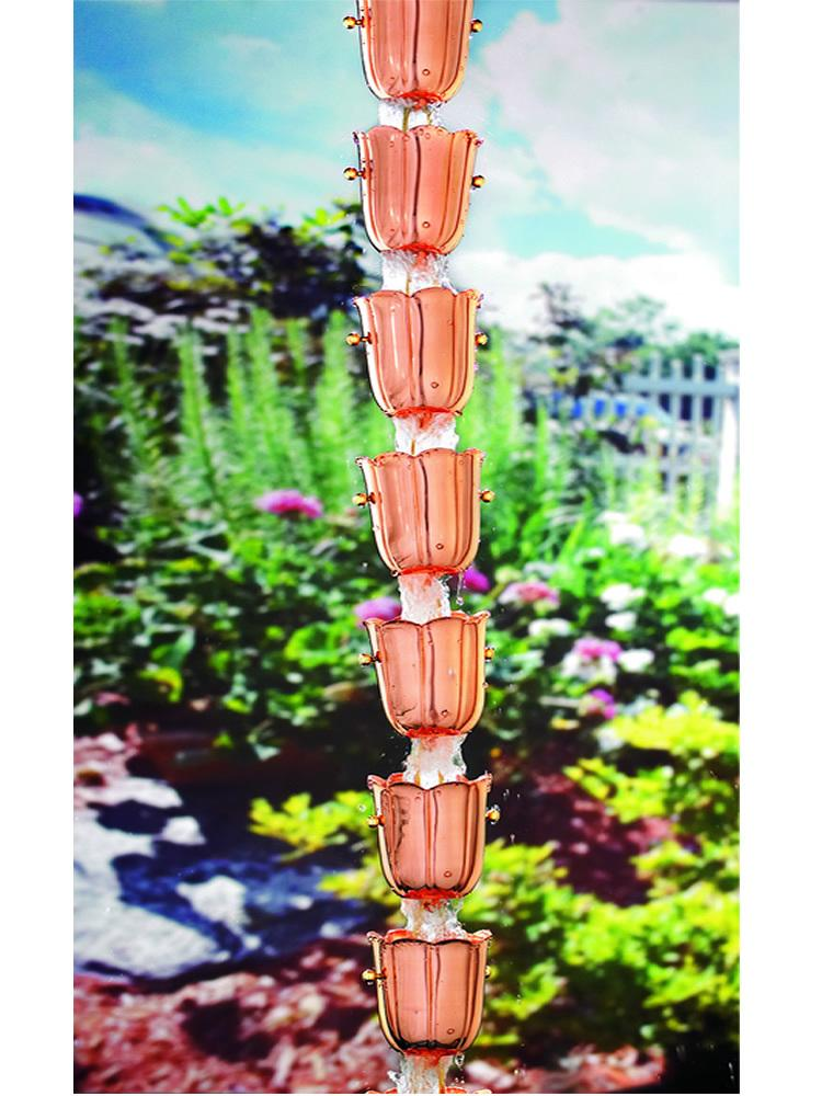 Copper Bluebell Rain Chain