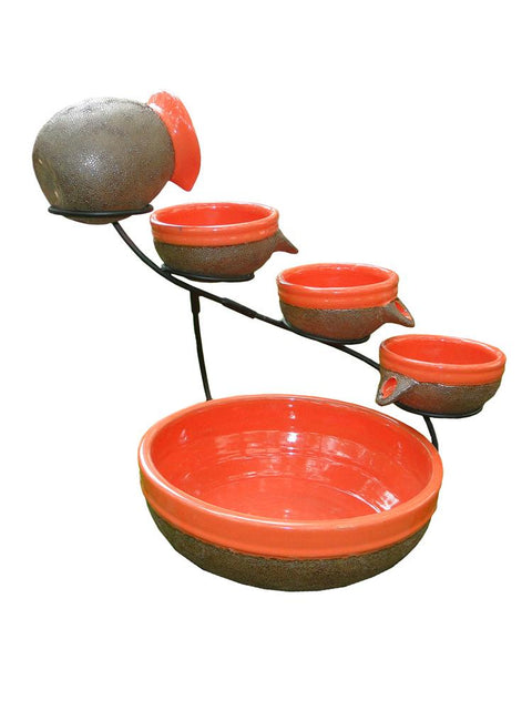 Tangerine Ceramic Solar Cascade Fountain with Rustic Brown Finish