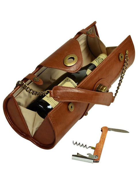 Wine Carrier & Purse - Brown