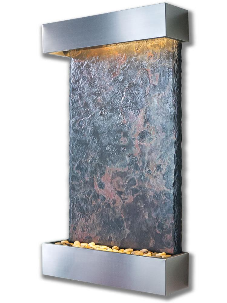 Large Slate Nojoqui Falls Fountain in Stainless Steel