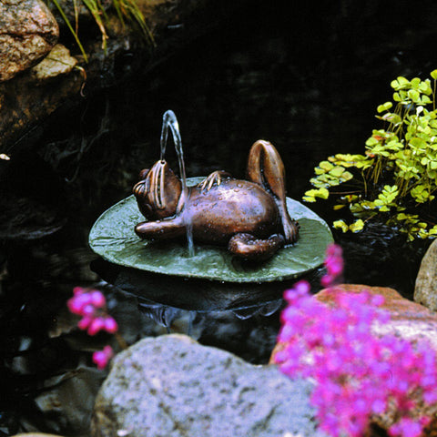 Spitting Frog on Lilly Pad Bronze Garden Statue