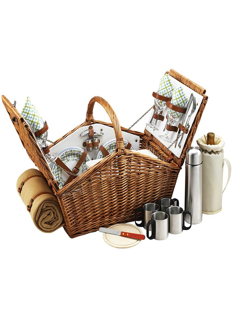 Huntsman Basket for Four with Coffee Set & Blanket in Gazebo