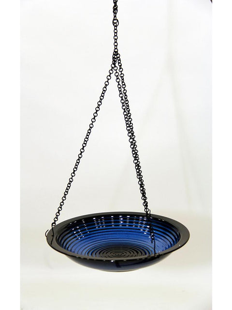 Circles Hanging Bird Bath in Cobalt Blue