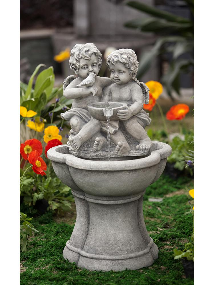 Cherub Water Fountain with LED Light