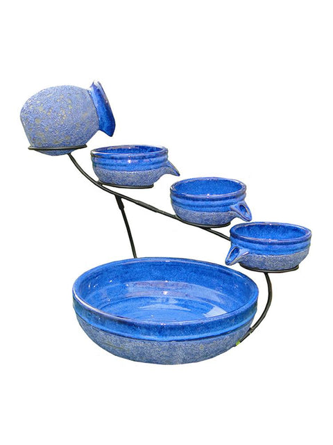 Blueberry Ceramic Solar Cascade Fountain with Rustic Brown Finish