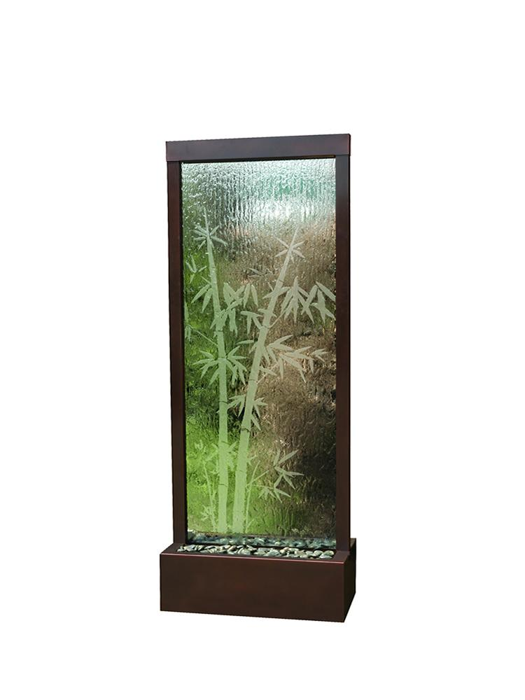 Etched Bamboo Gardenfall Fountain With Dark Copper Frame, Medium