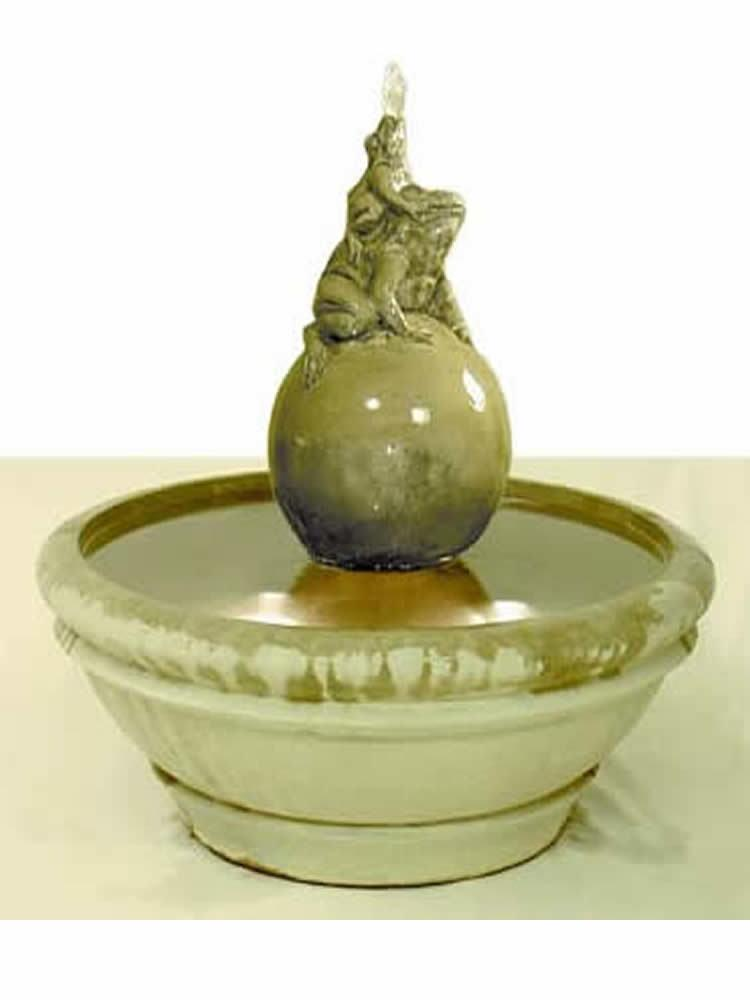 Terrace Fountain with Frogs on Sphere