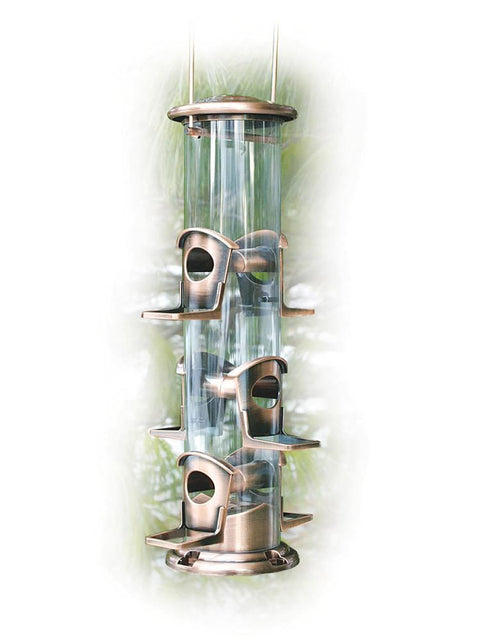 Brushed Copper 6 Port Seed Tube Bird Feeder