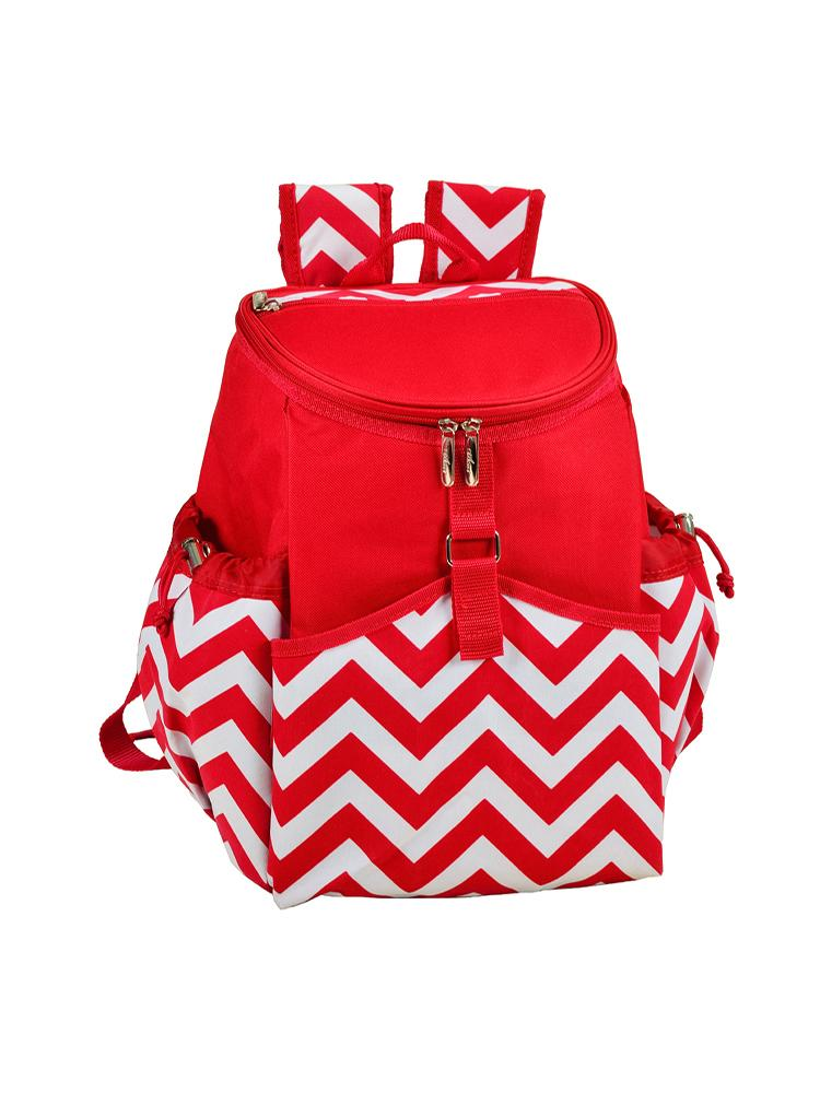 Cooler Backpack - Red Chevron