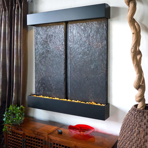 Double Nojoqui Falls Fountain in Black Trim