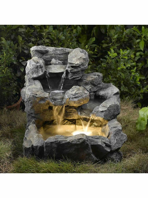 Rock Falls Fountain with Illumination