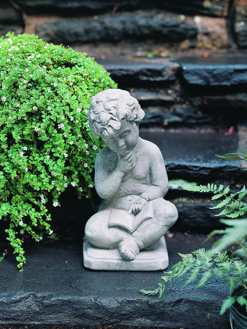 Seated Boy with Book Garden Statue
