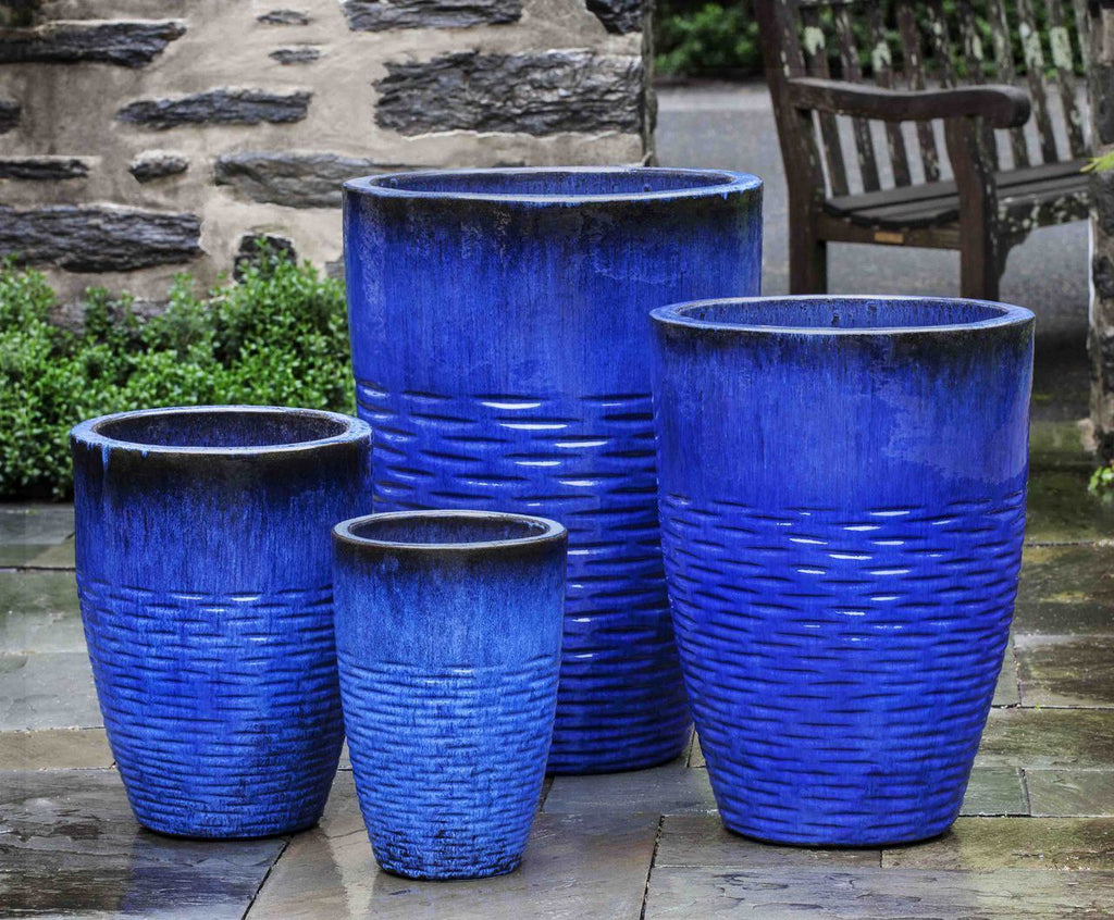 Tall Hyphen Planter  - Set of 4 in Riviera Blue