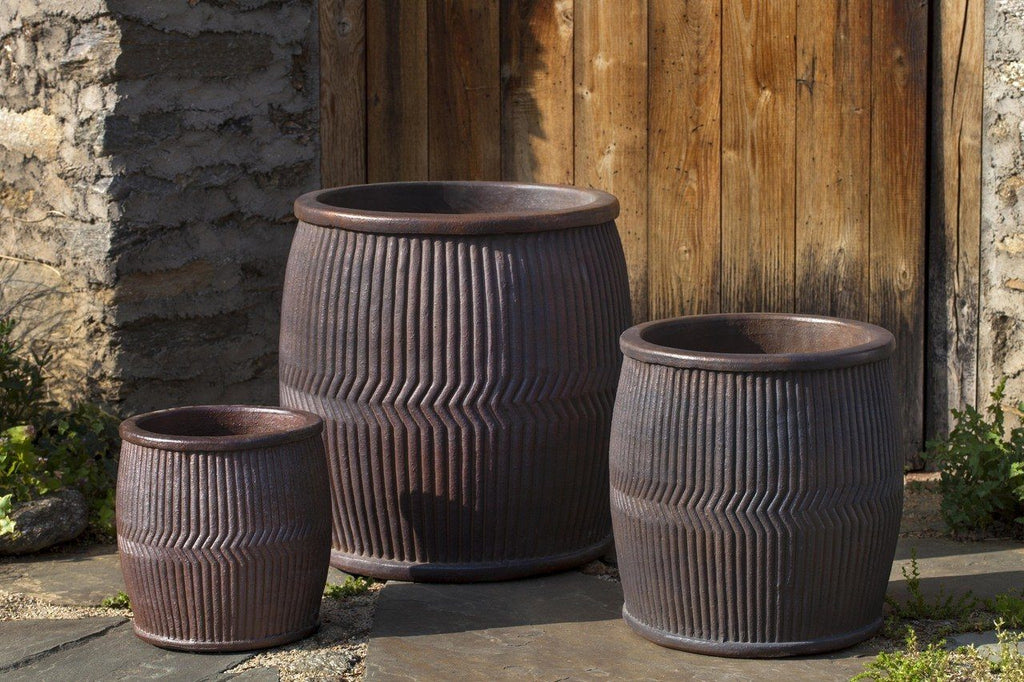 Rainbarrel Planter in Asian Earthenware