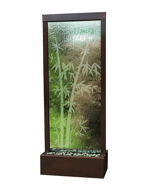 Etched Bamboo Gardenfall Fountain With Dark Copper Frame, Large
