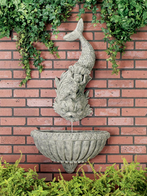Dolphin with Cherub Wall Fountain, 2-pc