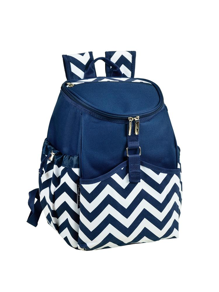 Cooler Backpack - Blue Chevron