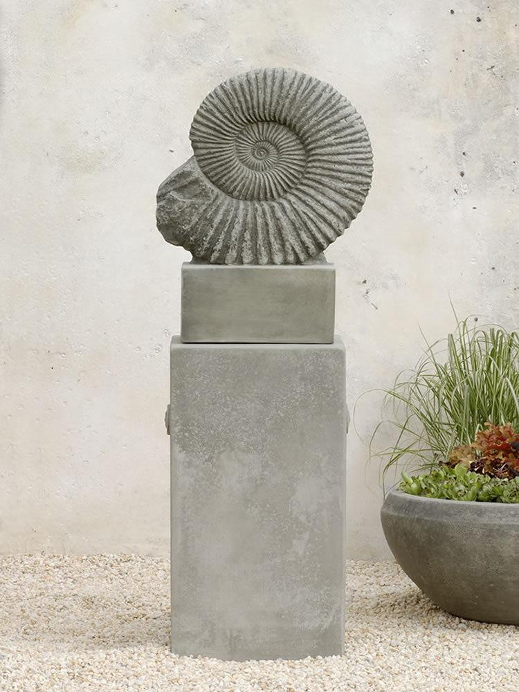 Ammonite Garden Statue on Medallion Pedestal
