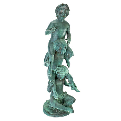 Child's Play Stacked Children Spitting Bronze Garden Statue: Medium