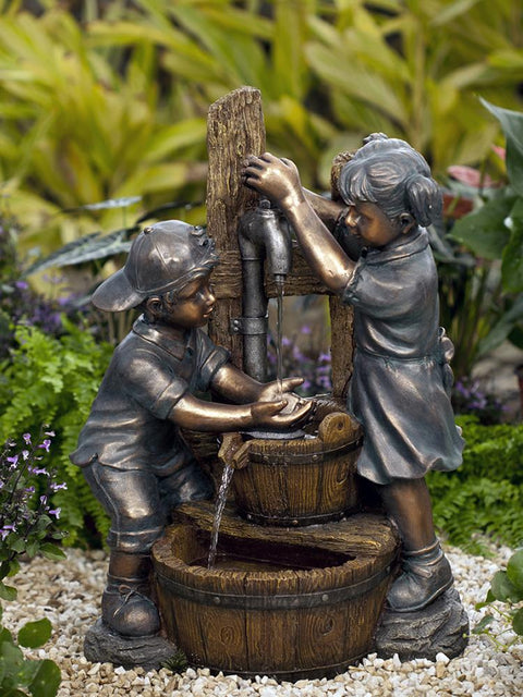 Kids Playing Water Fountain