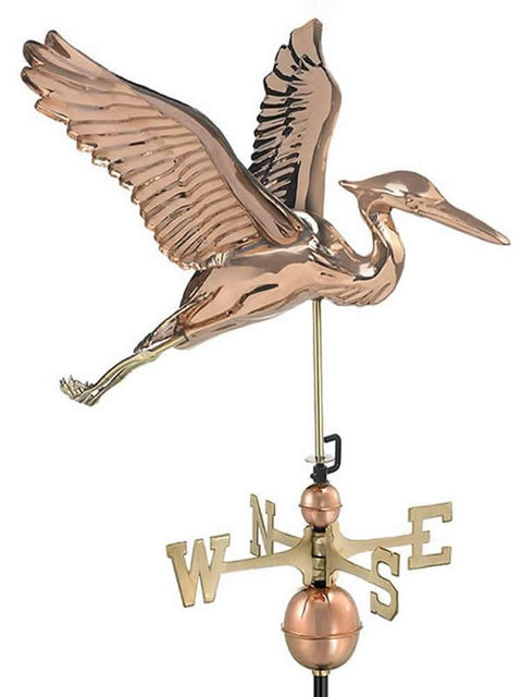 Tall Copper Blue Heron Weather Vane
