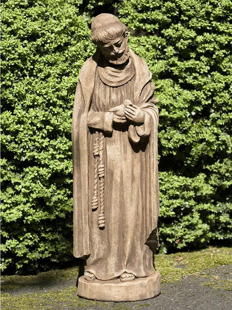 Saint Francis with Bird Garden Statue